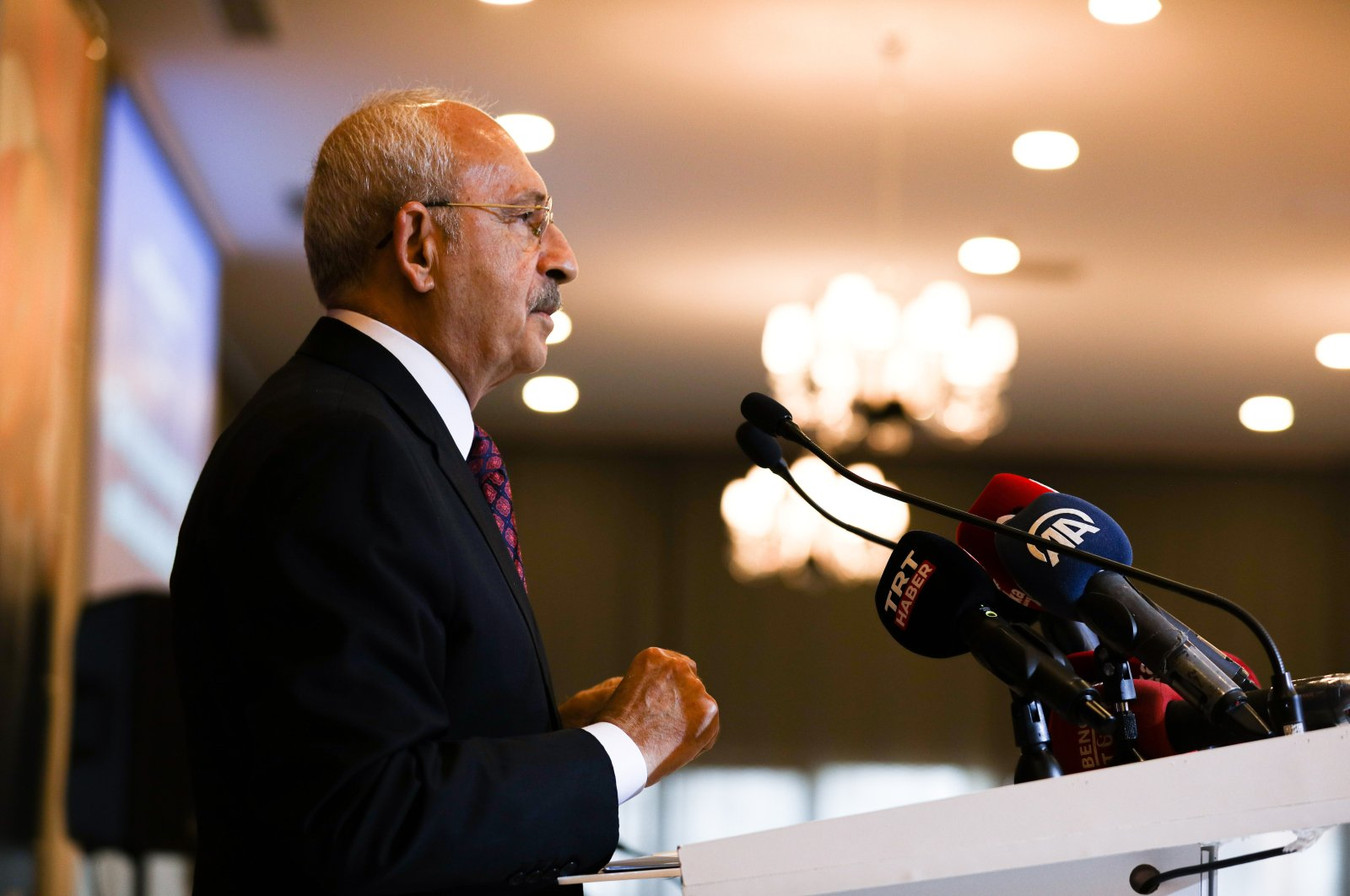 Main opposition Republican People's Party (CHP) Chairman Kemal Kılıçdaroğlu speaks during a press conference in capital Ankara, Turkey, Sept. 29, 2021. (Photo by Getty Images)