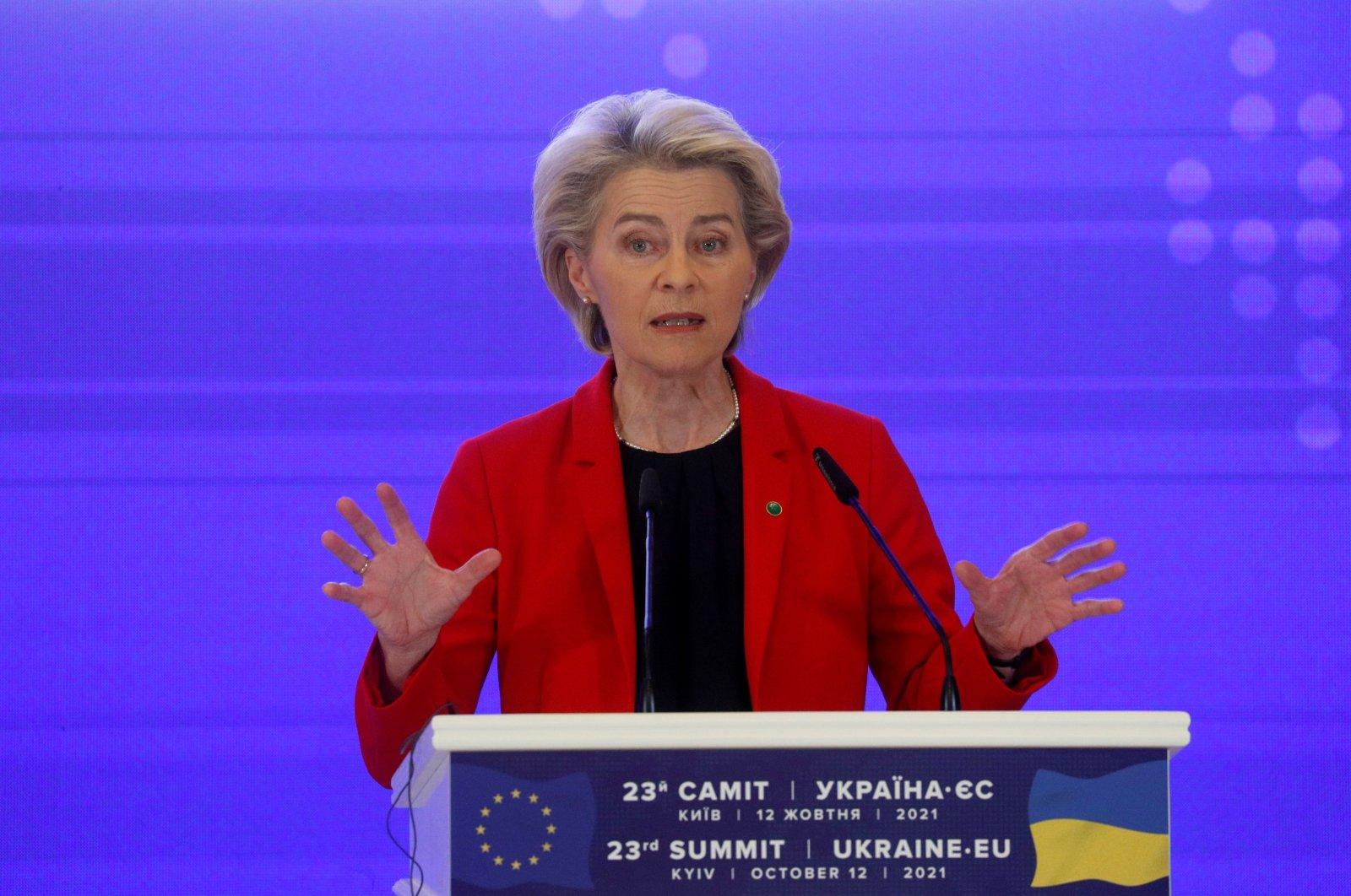 European Commission President Ursula von der Leyen gestures during a news briefing following the Ukraine-EU summit in Kyiv, Ukraine, Oct. 12, 2021. (Reuters Photo)