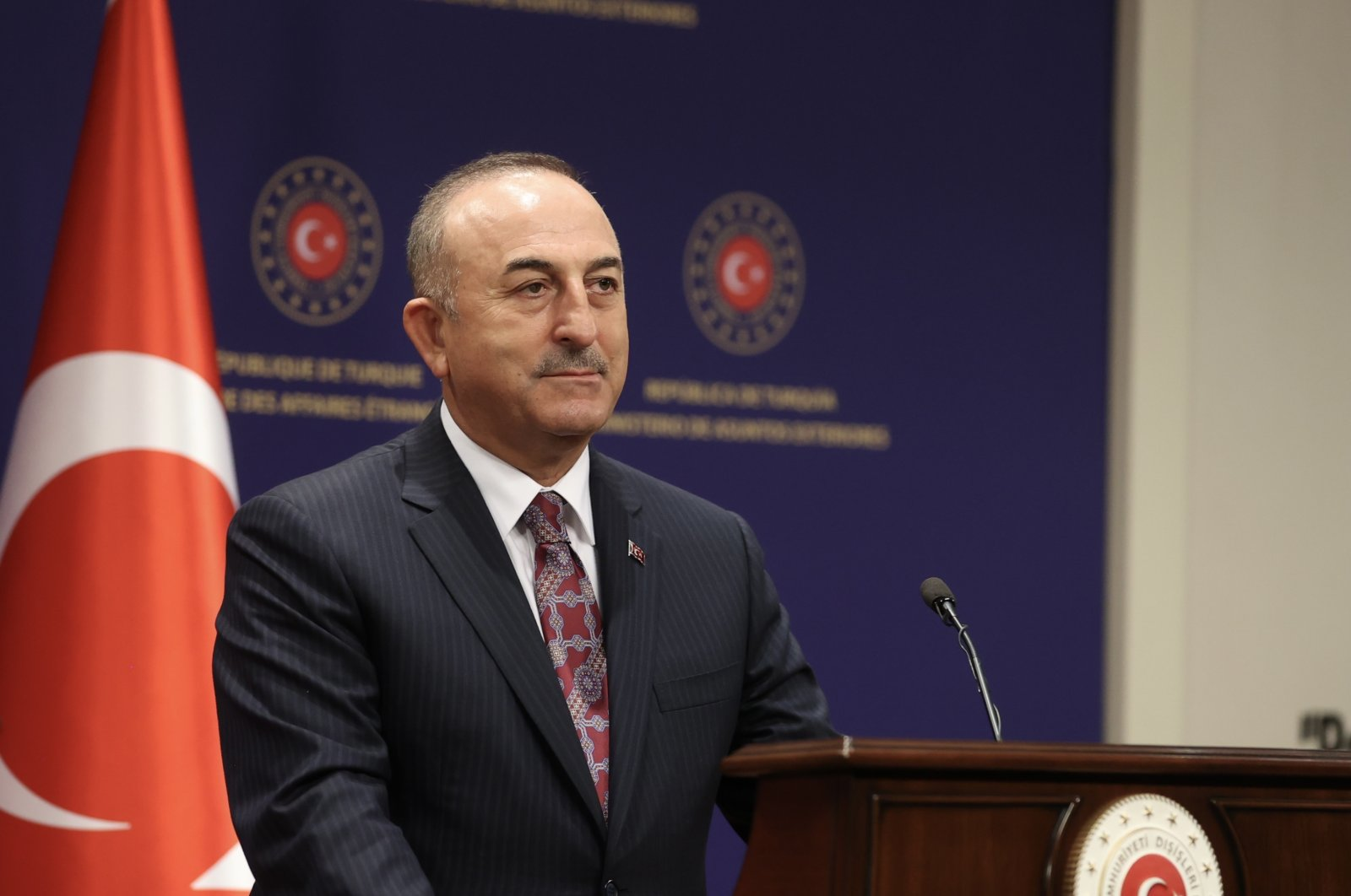 Foreign Minister Mevlüt Çavuşoğlu speaks in a joint news conference with Indonesian counterpart Retno Marsudi in Ankara, Tuesday, Oct. 12, 2021. (AA Photo)