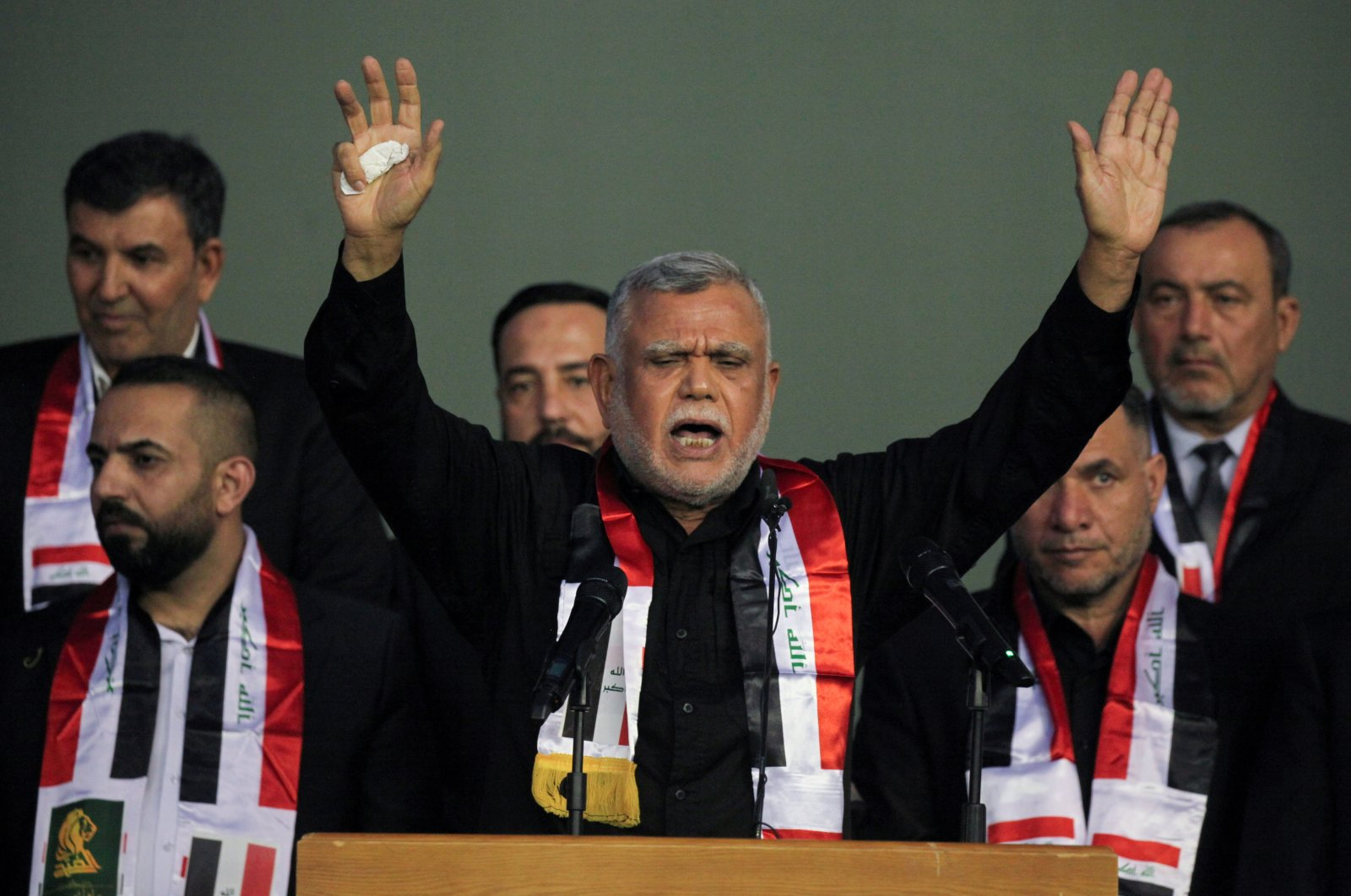 Hadi al-Amiri leader of the Badr Organisation, attends an election rally along with his Fatah bloc supporters, ahead of the parliamentary election in Baghdad, Iraq Oct. 5, 2021. (Reuters Photo)