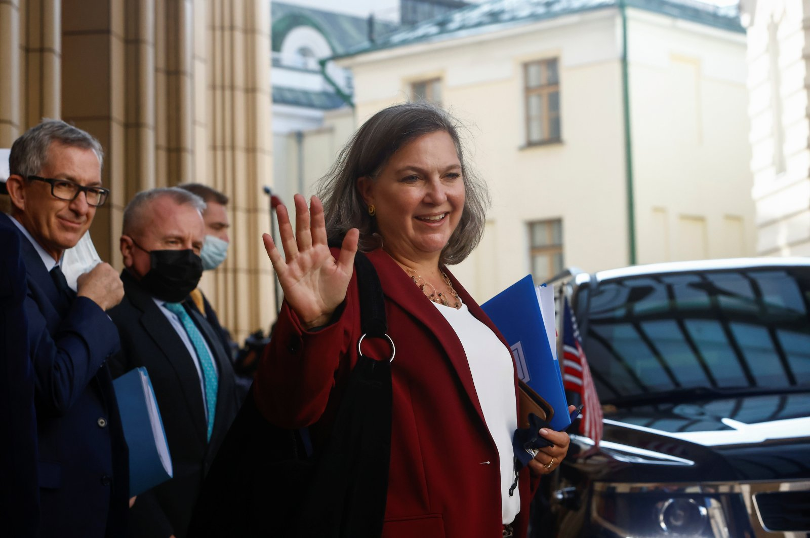 U.S. Under Secretary of State Victoria Nuland reacts while walking out of the headquarters of Russia's Foreign Ministry after talks with Russian officials in Moscow, Russia, Oct. 12, 2021. (Reuters Photo)