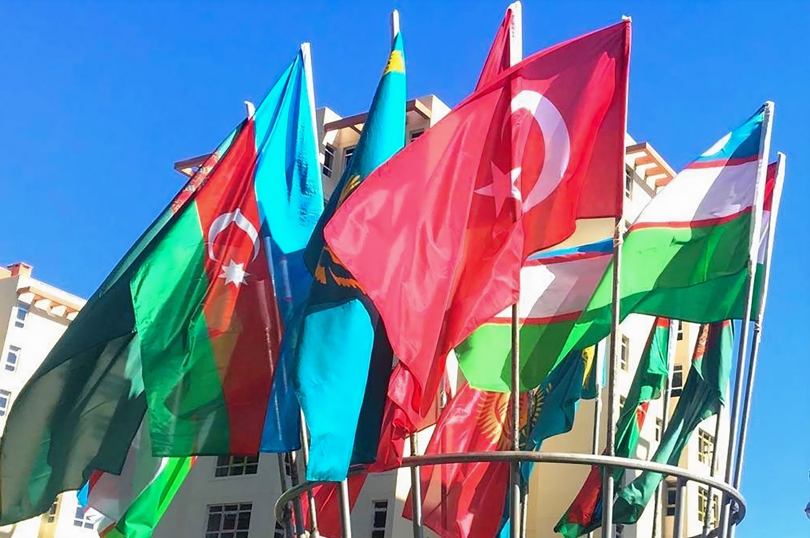 Flags of the countries participating in a Turkic Council meeting seen in Baku, Azerbaijan, Oct. 16, 2019. (Sabah File Photo)