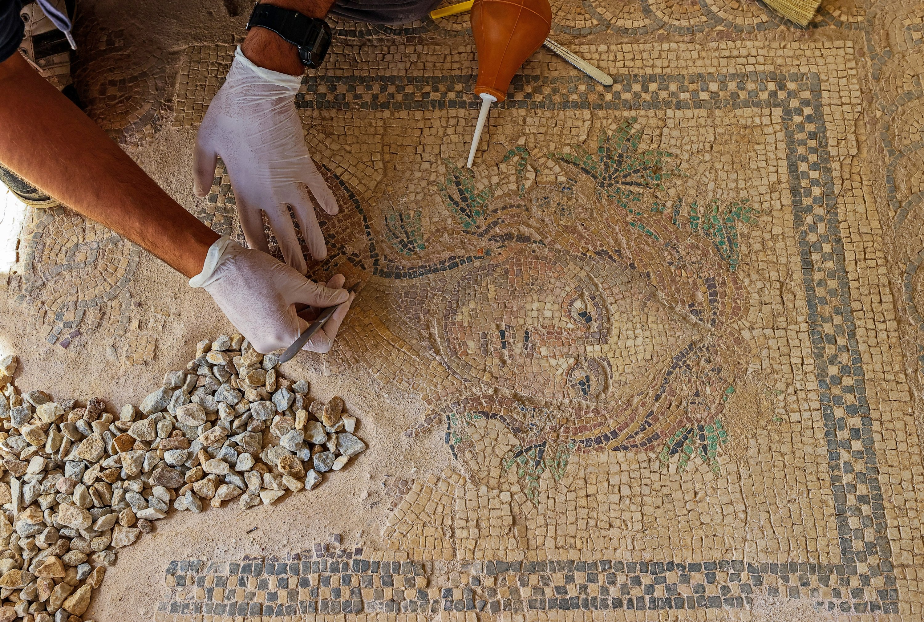 A restorer works on a mosaic in the ancient city of Metropolis, Izmir, western Turkey, Oct. 12, 2021. (AA Photo)