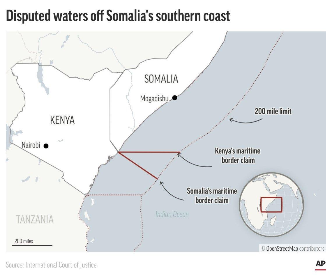 A map showing the Kenya-Somalia coastline and disputed area. (AP Photo)