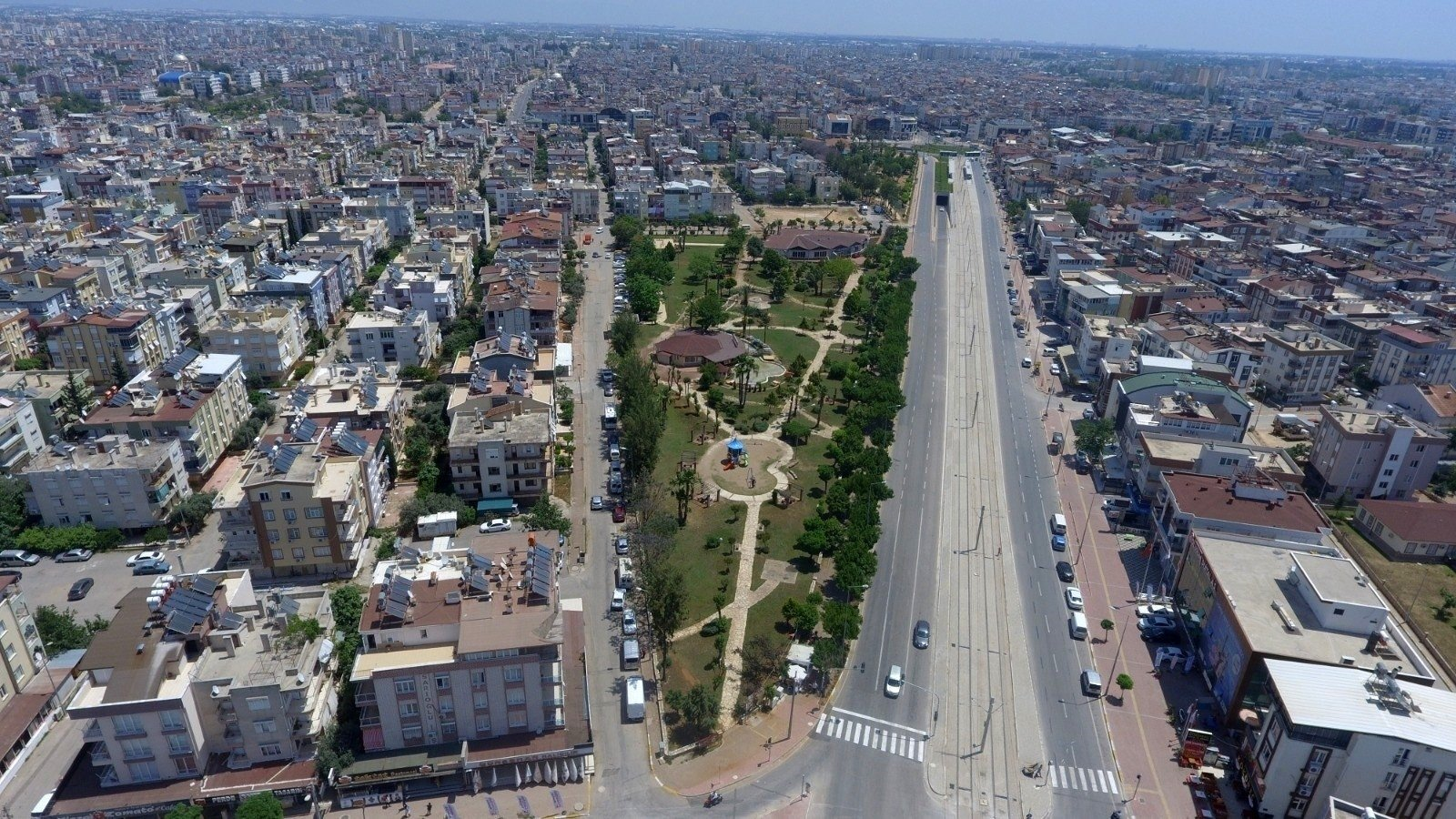 An aerial view of the Mediterranean province of Antalya, Turkey, Oct. 13, 2021. (IHA Photo)