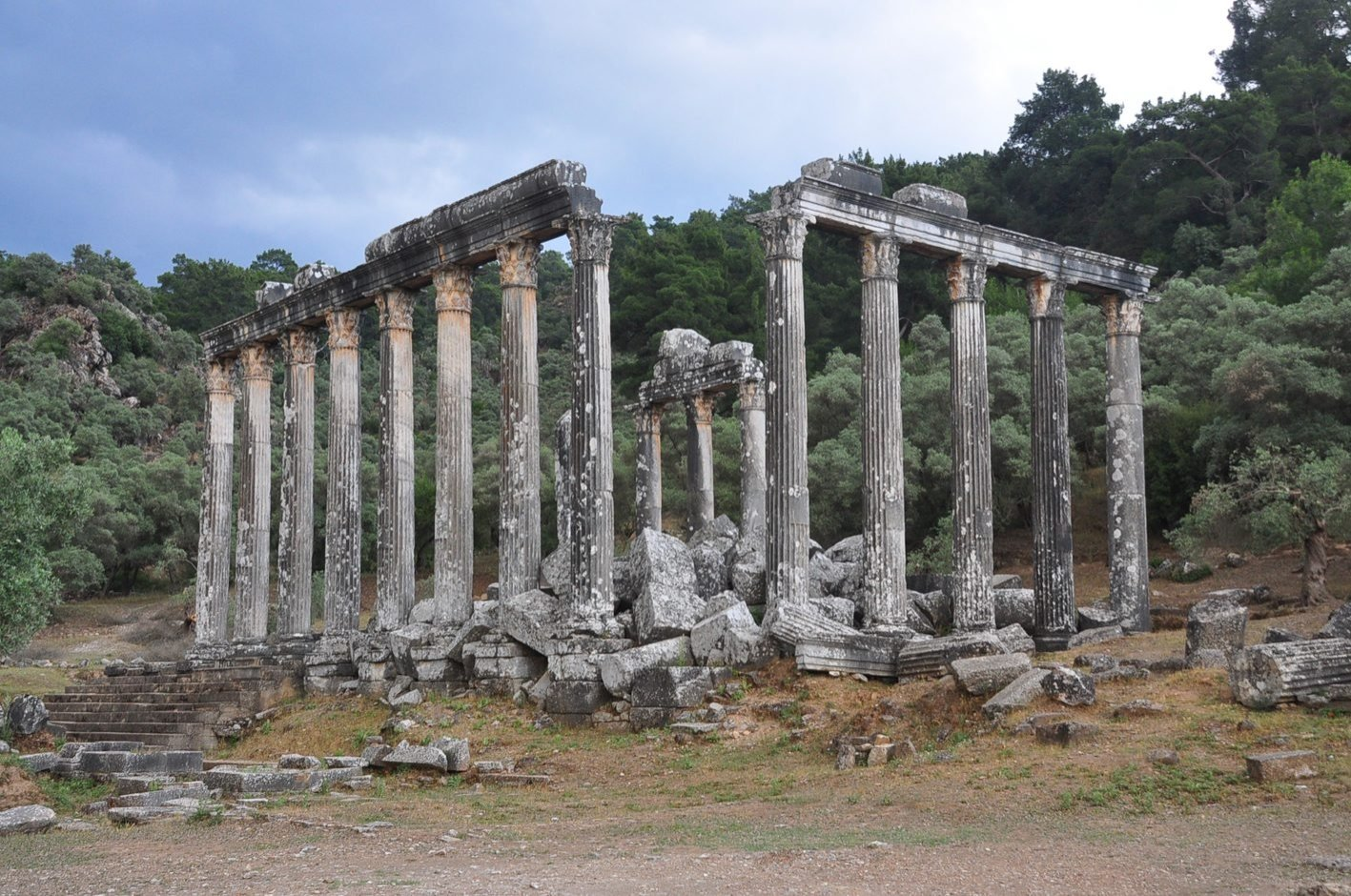 A general view of the standing columns of the Temple of Zeus Lepsynos, the ancient city of Euromos, Muğla, Turkey, Oct. 11, 2021. (AA Photo)