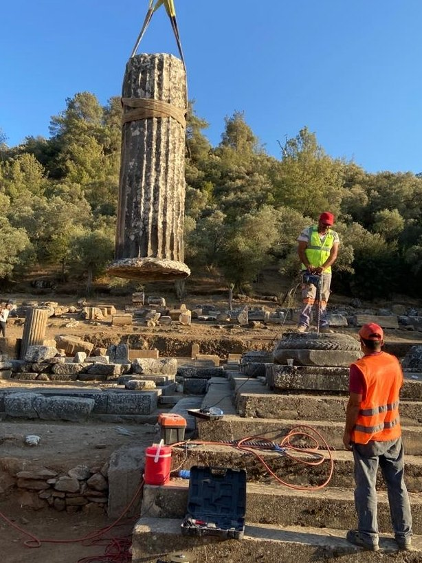 The columns of the Temple of Zeus Lepsynos are being reerected in the ancient city of Euromos, Muğla, Turkey, Oct. 11, 2021. (AA Photo)