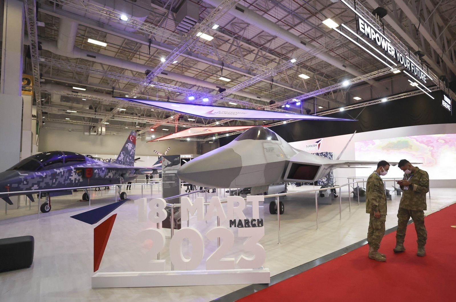 Life-size mockups of TAI's Hürjet and the MMU on display at the IDEF, Istanbul, Turkey, Aug. 18, 2021. (AA Photo)