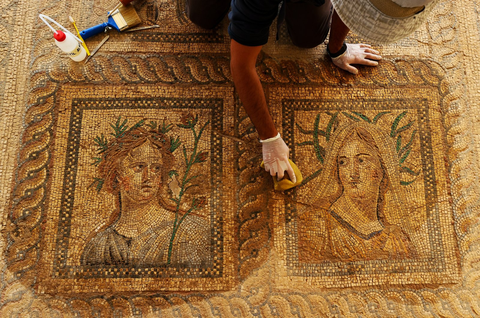 A mosaic of Dionysus and his wife Ariadne in the ancient city of Metropolis, Izmir, western Turkey, Oct. 12, 2021. (AA Photo)