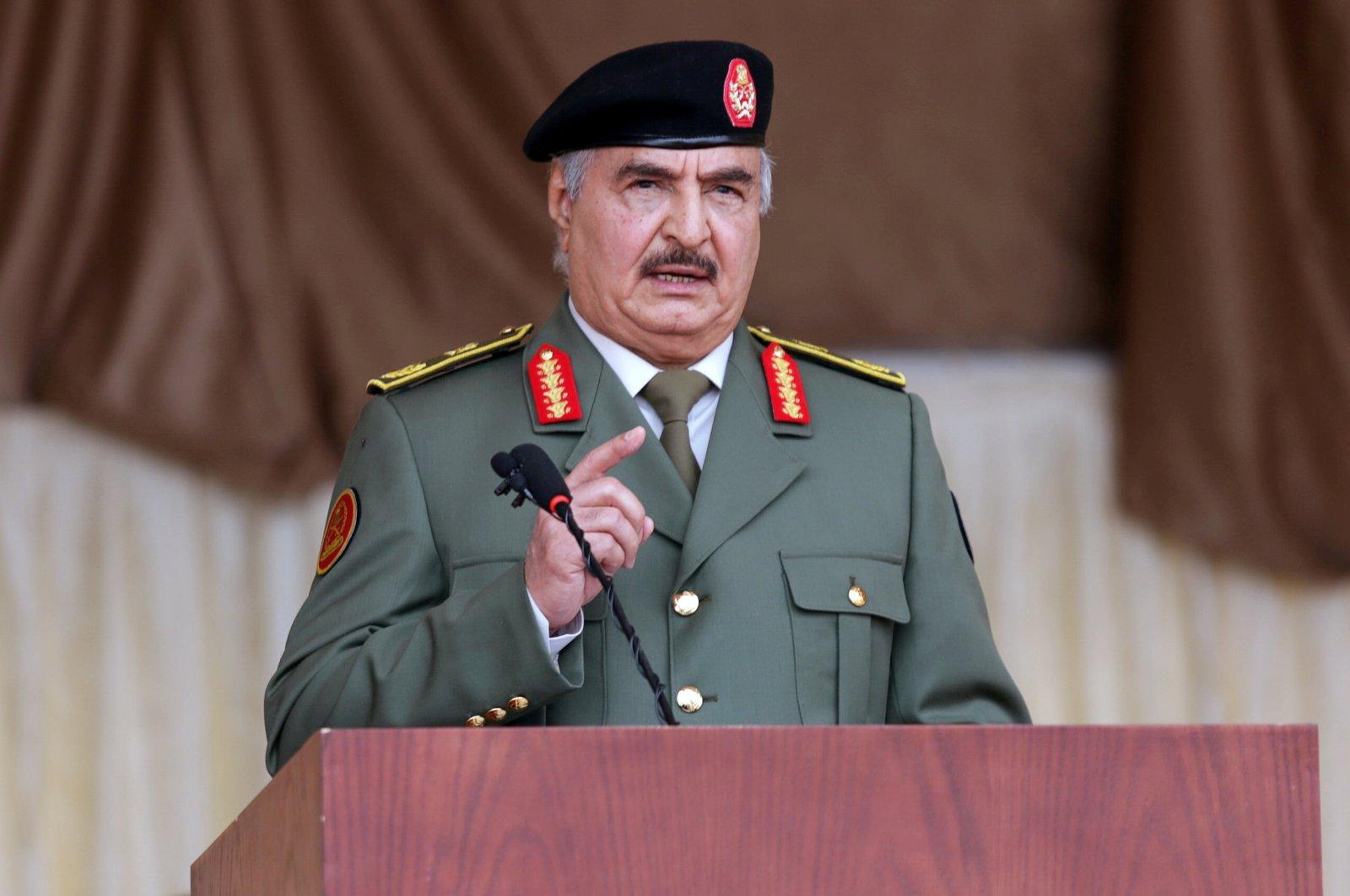 Putschist Gen. Khalifa Haftar gestures as he speaks during Independence Day celebrations in Benghazi, Libya Dec.24, 2020. (Reuters File Photo)
