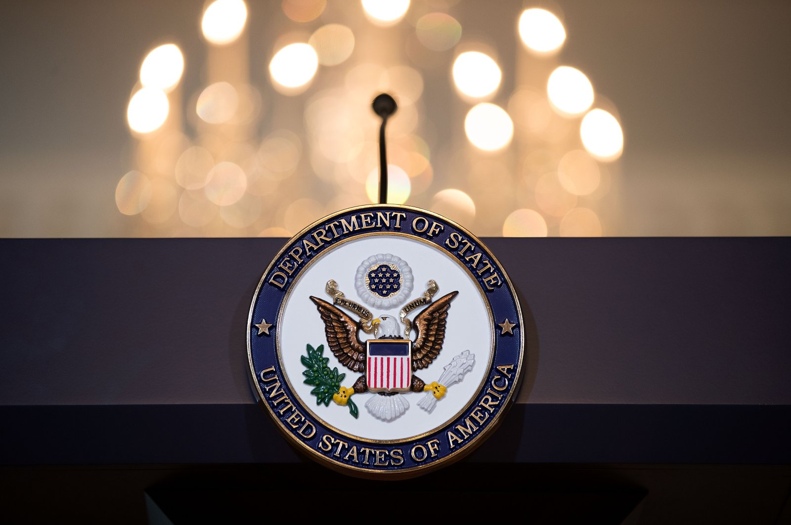 A view of the State Department seal on the podium at the State Department in Washington, D.C., U.S., June 9, 2017. (Getty Images)