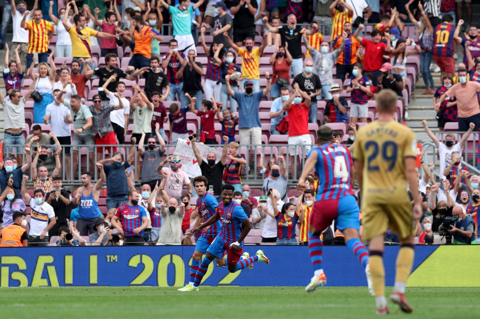Barcelona's Ansu Fati (L) celebrates scoring their third goal with teammates during a La Liga match at Camp Nou, in Barcelona, Spain, Sept. 26, 2021. (Reuters Photo)