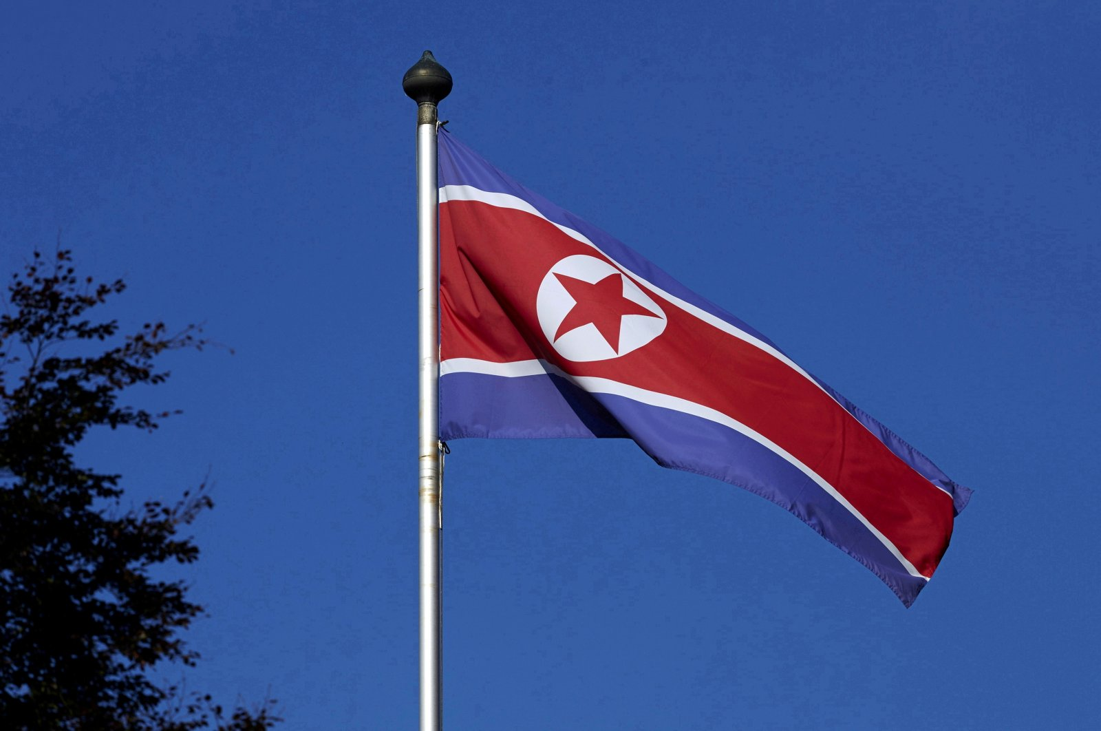 A North Korean flag flies on a mast at the Permanent Mission of North Korea in Geneva, Switzerland, Oct. 2, 2014. (Reuters Photo)