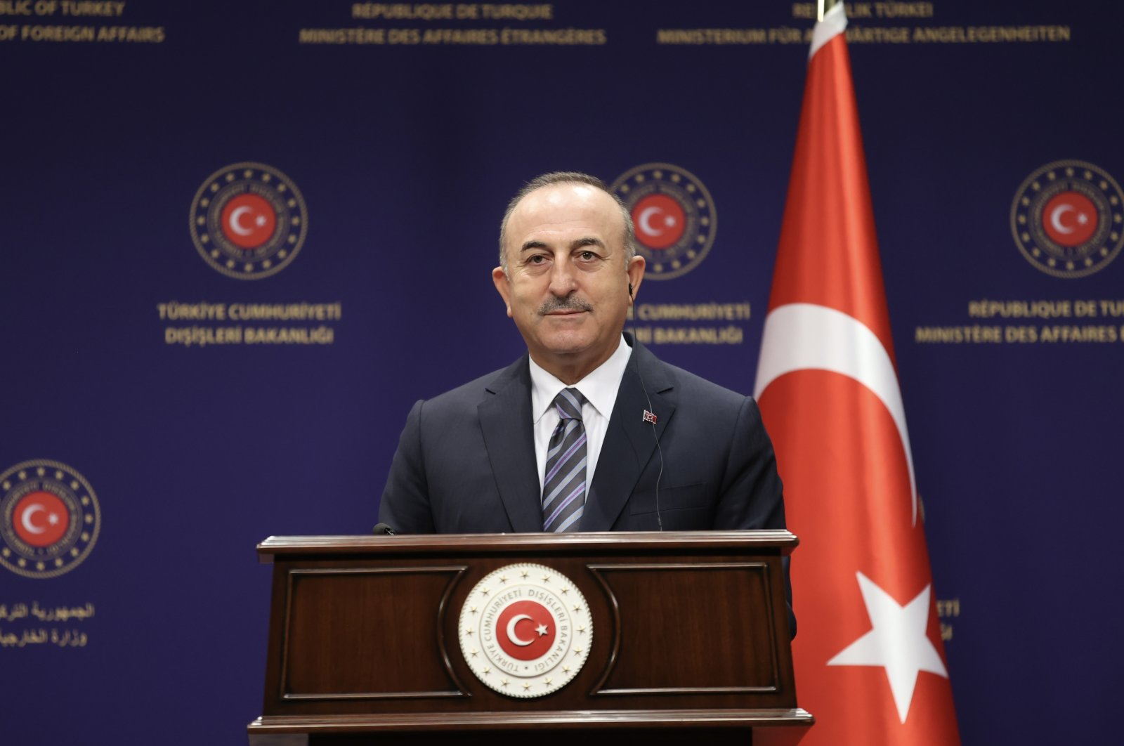 Foreign Minister Mevlüt Çavuşoğlu speaks during a joint press conference with hisNicaraguan counterpart Denis Moncada Colindres in the capital Ankara, Turkey, Oct. 13, 2021. (AA Photo)