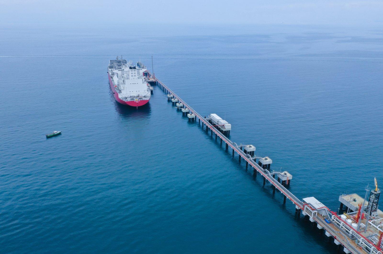 Turkey's first floating storage and regasification unit (FSRU) Ertuğrul Gazi is seen at the port in Dörtyol in Turkey's southern province of Hatay, Turkey, June 24, 2021. (AA Photo)