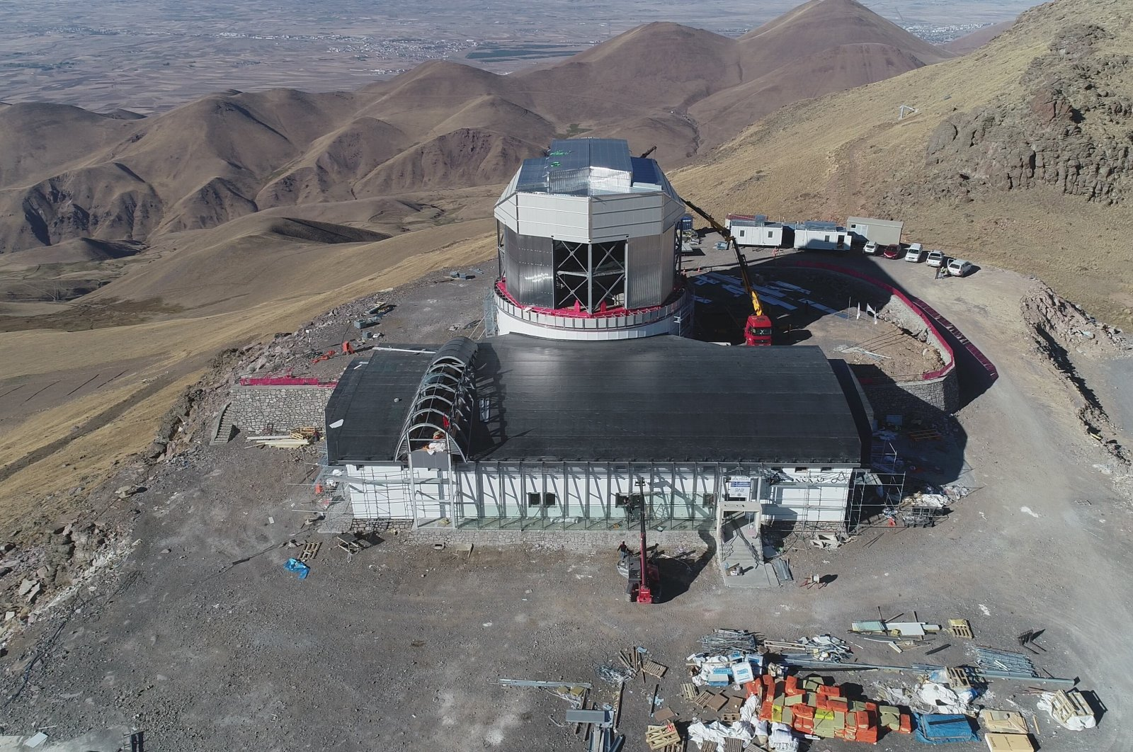 An aerial view shows the construction of Turkey's largest infrared telescope, in Erzurum, Turkey, Oct. 13, 2021. (IHA Photo)