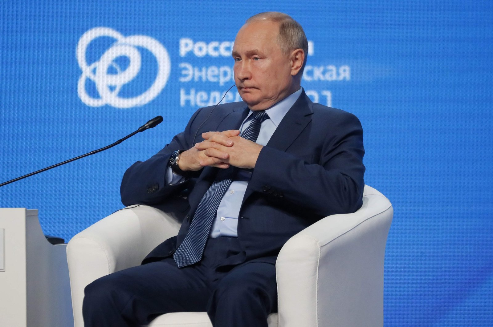 Russian President Vladimir Putin attends a session of the Russian Energy Week International Forum in Moscow, Oct. 13, 2021. (AFP Photo)