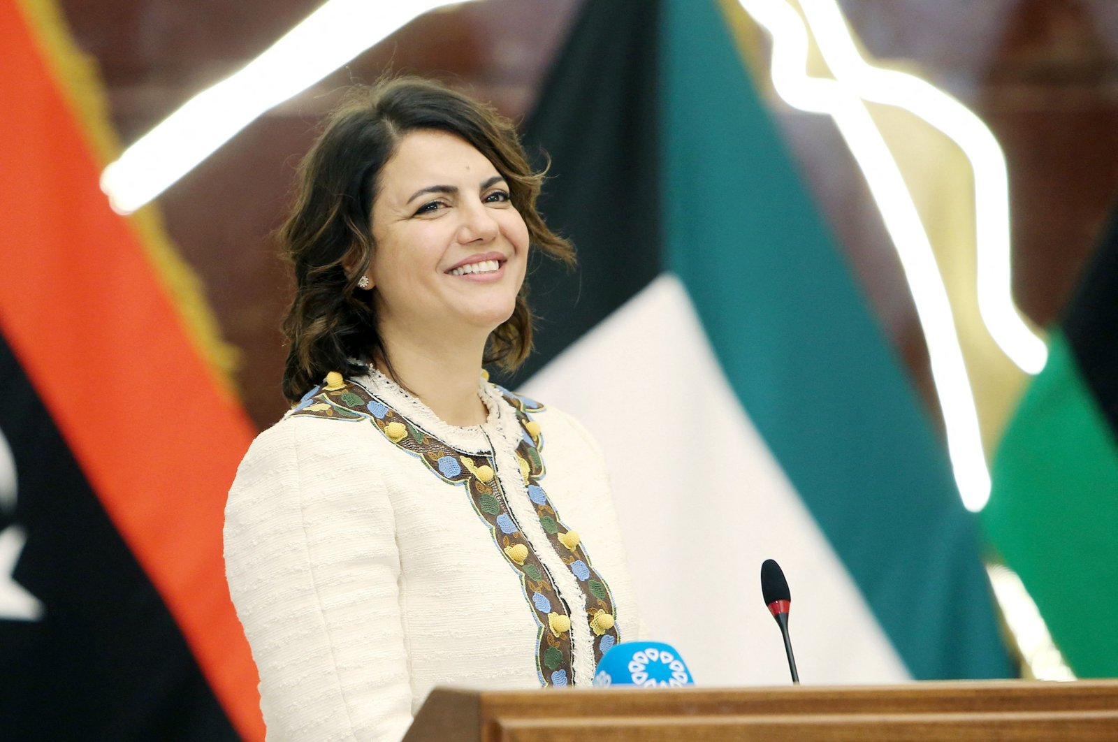 Libyan Foreign Minister Najla Mangoush speaks during a joint press conference with her Kuwaiti counterpart in Kuwait City on Oct. 3, 2021. (AFP Photo)