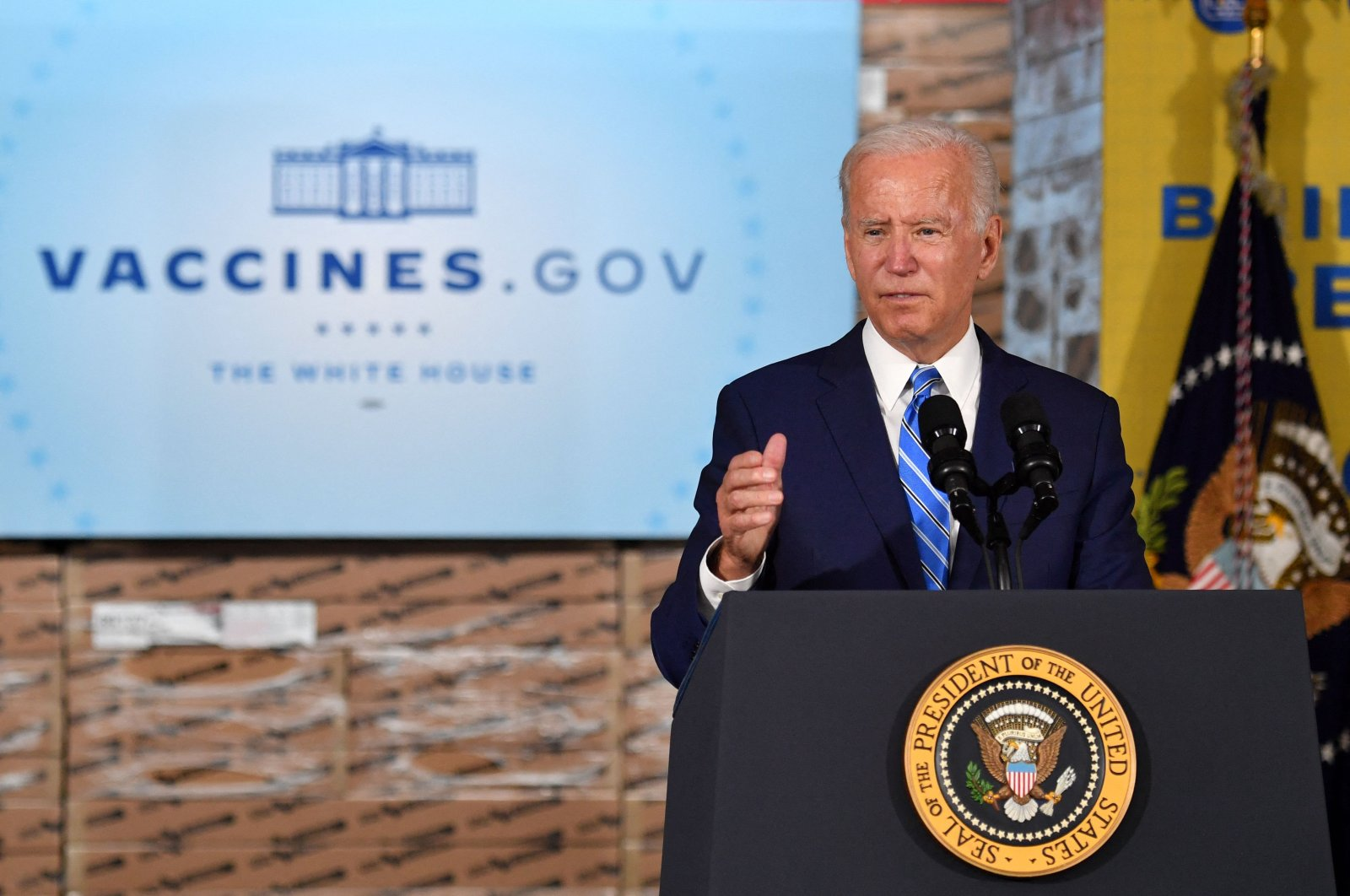 U.S. President Joe Biden speaks at a press conference after touring the Clayco construction site in Elk Grove Village, Illinois, U.S., Oct. 7, 2021. (AFP Photo)