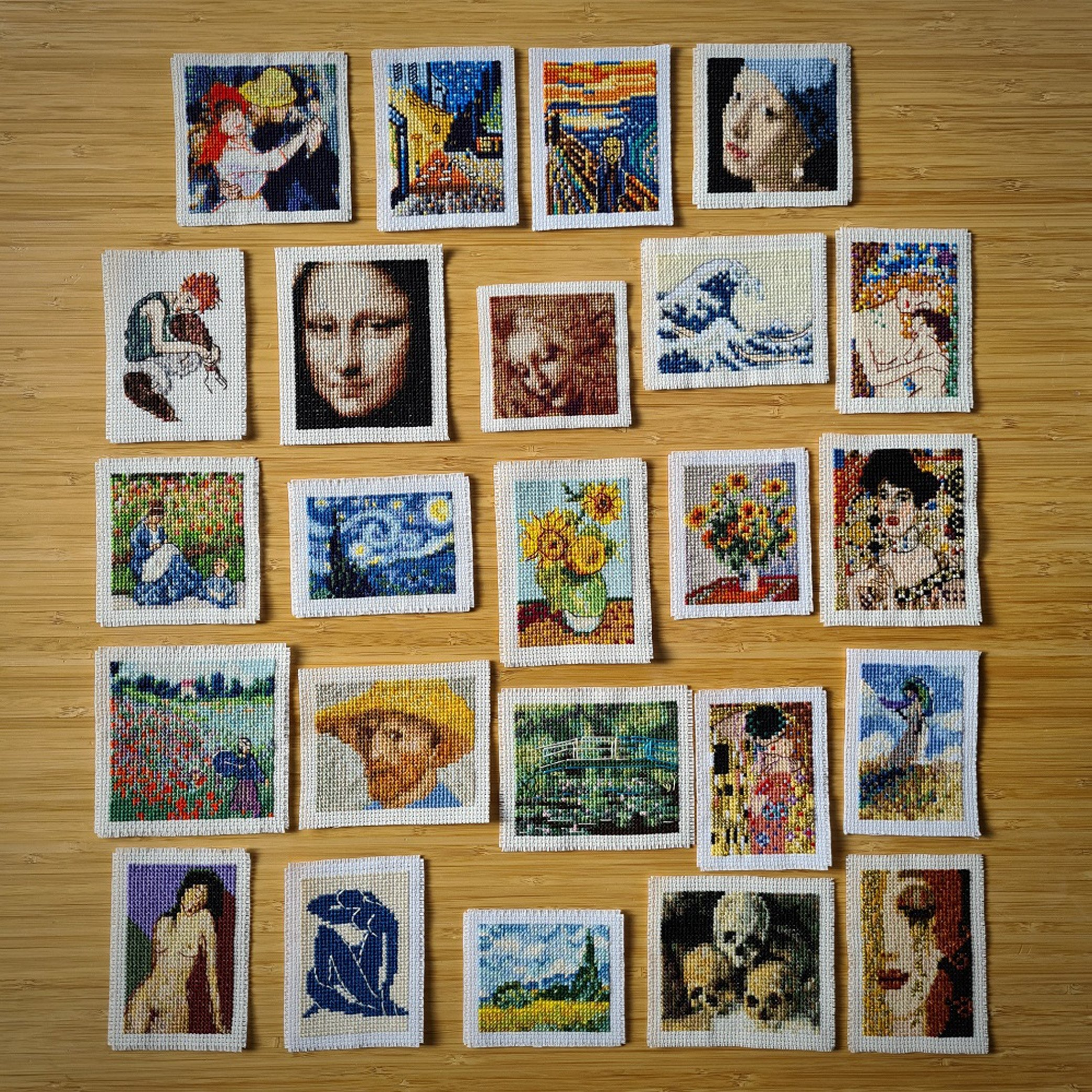 A photo of a part of Elçin Özcan's mini-gallery comprising of cross-stitch versions of the world's most famous masterpieces. (DPA Photo)
