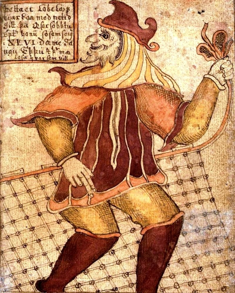 An 18th-century depiction of Loki with his fishing net on an Icelandic manuscript. (Wikimedia Photo)
