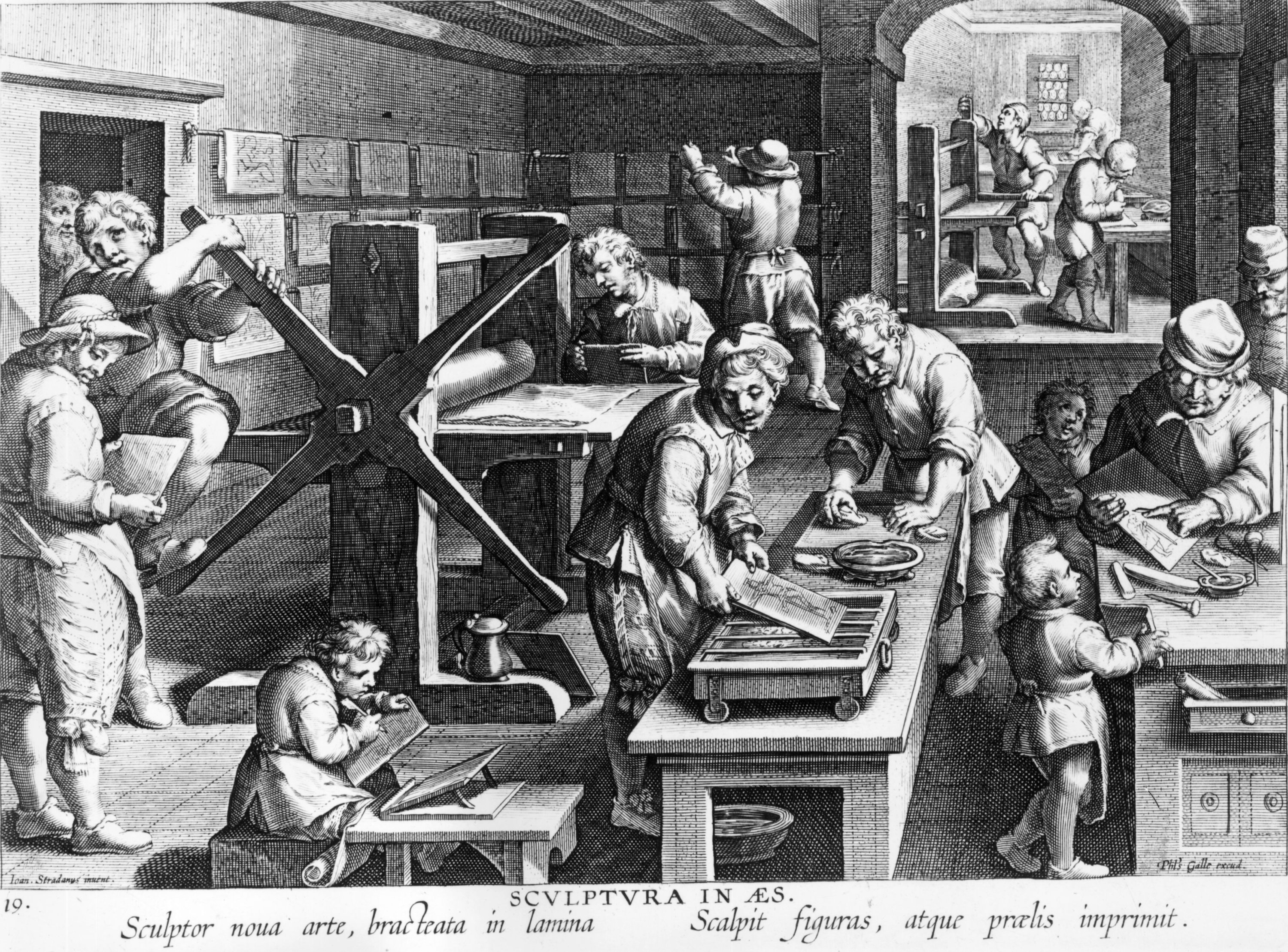 A chaotic early printing room with the large presses dominating the scene circa 1500. (Getty Images)