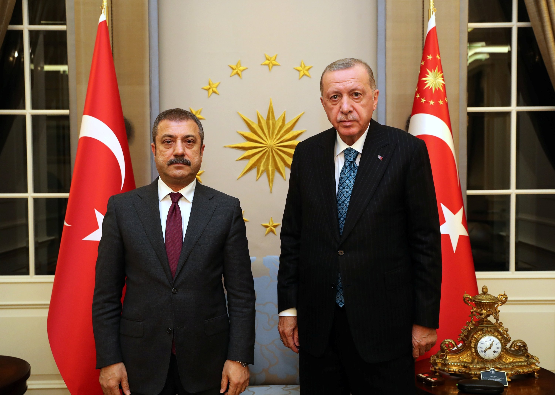 President Recep Tayyip Erdoğan meets with the Central Bank of the Republic of Turkey (CBRT) Governor Şahap Kavcıoğlu in Ankara, Turkey, Oct. 13, 2021. (Presidential Press Office via Reuters)