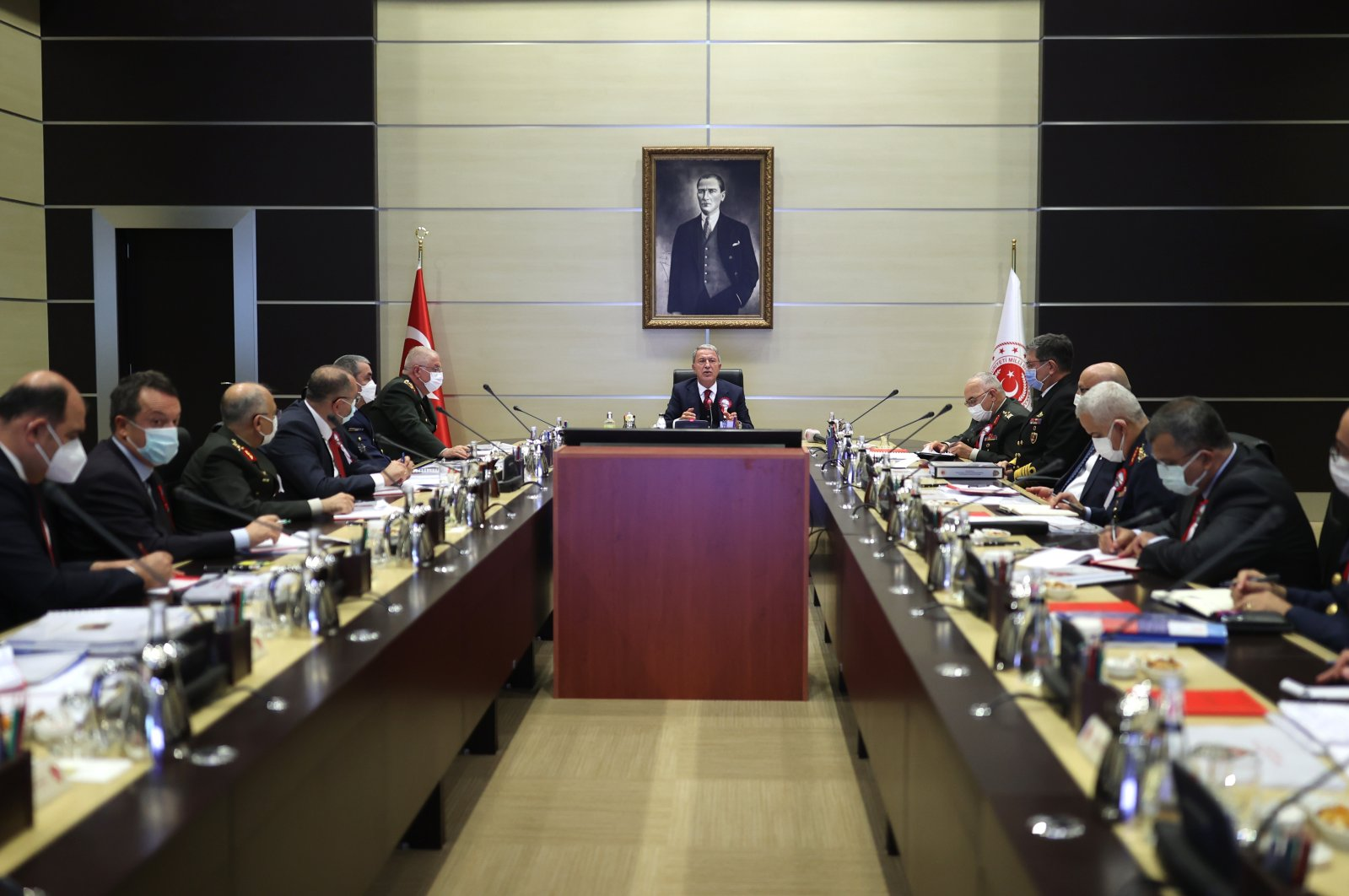 Defense Minister Hulusi Akar chairs a military evaluation meeting in Istanbul, Turkey, Oct. 14, 2021. (AA Photo)