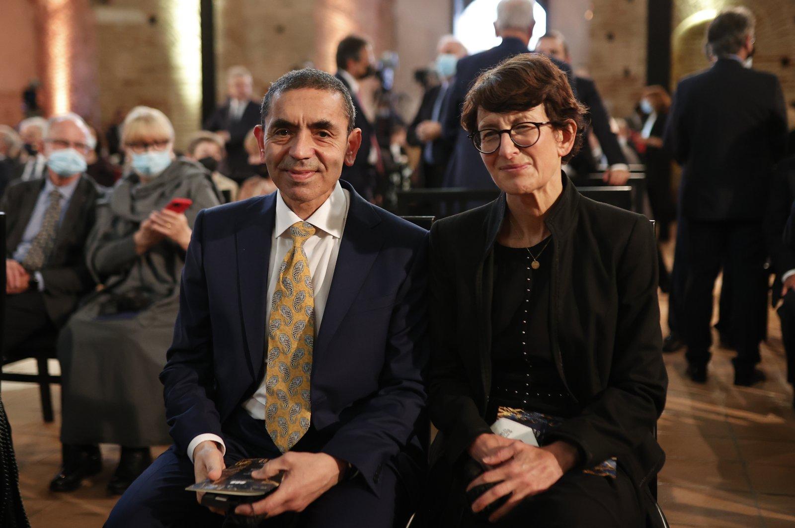 Turkish-German scientists Uğur Şahin and Özlem Türeci attend the award ceremony in Athens, Greece on Oct. 13, 2021. (AA Photo)