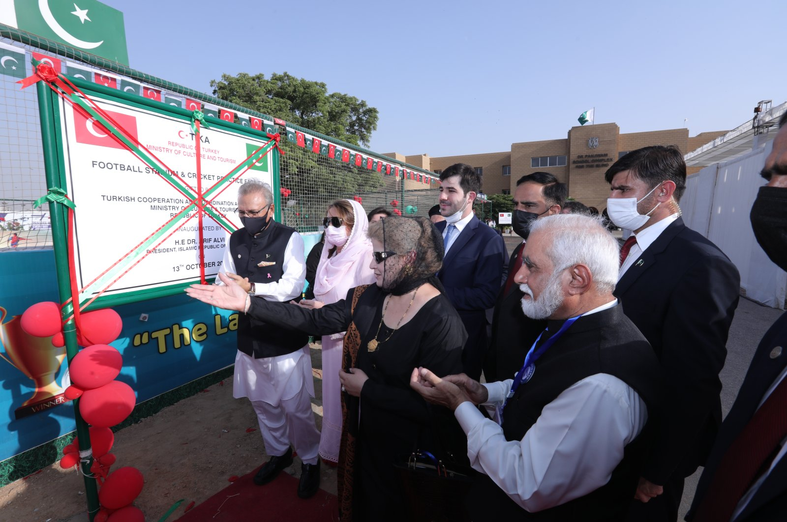 The inaguration ceremony of TIKA's cricket and football training facilities for children in Karachi, Oct.13, 2021. (AA Photo)