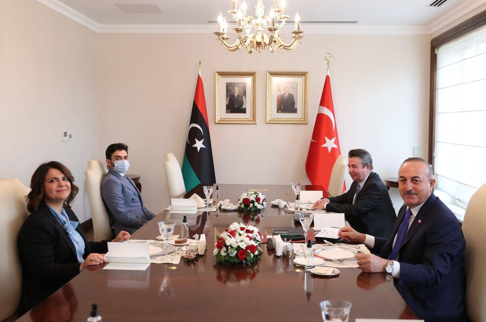 Foreign Minister Mevlüt Çavuşoğlu (R-Front) receives Libyan Foreign Minister Najla Mangoush (L-Front) in the capital Ankara, Turkey, Oct. 14, 2021. (AA Photo)