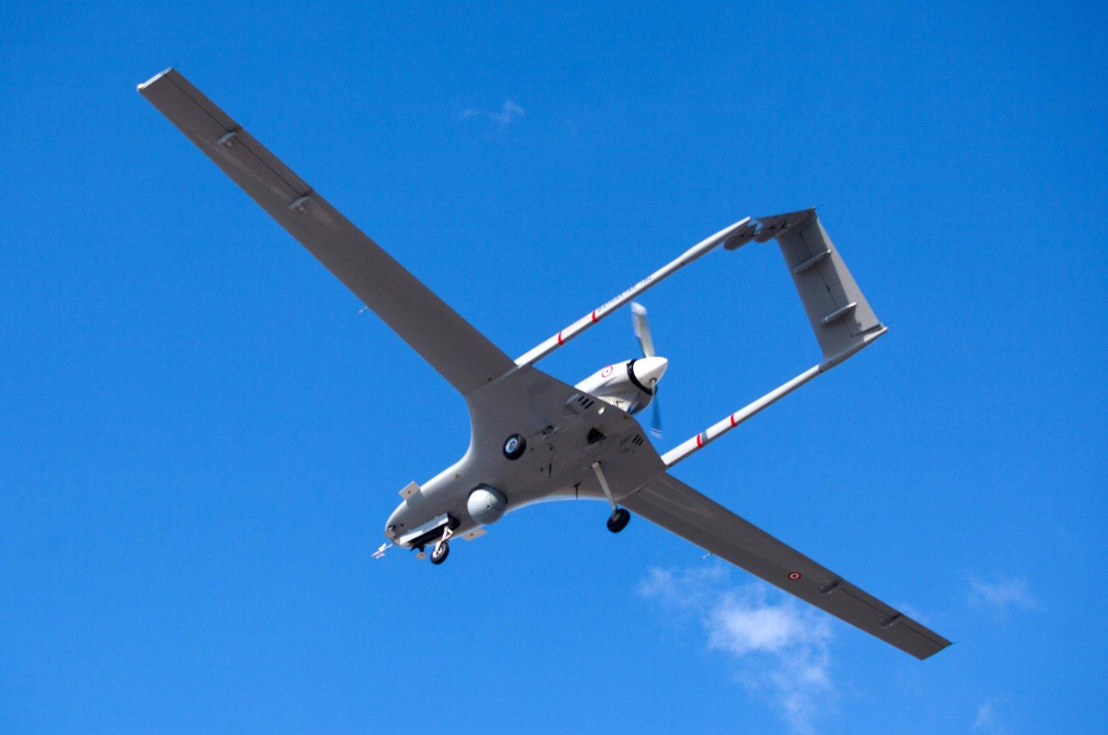 The Turkish-made Bayraktar TB2 drone flies at Geçitkale military airbase near Gazimağusa (Famagusta) in the Turkish Republic of Northern Cyprus (TRNC), Dec. 16, 2019. (AFP Photo)