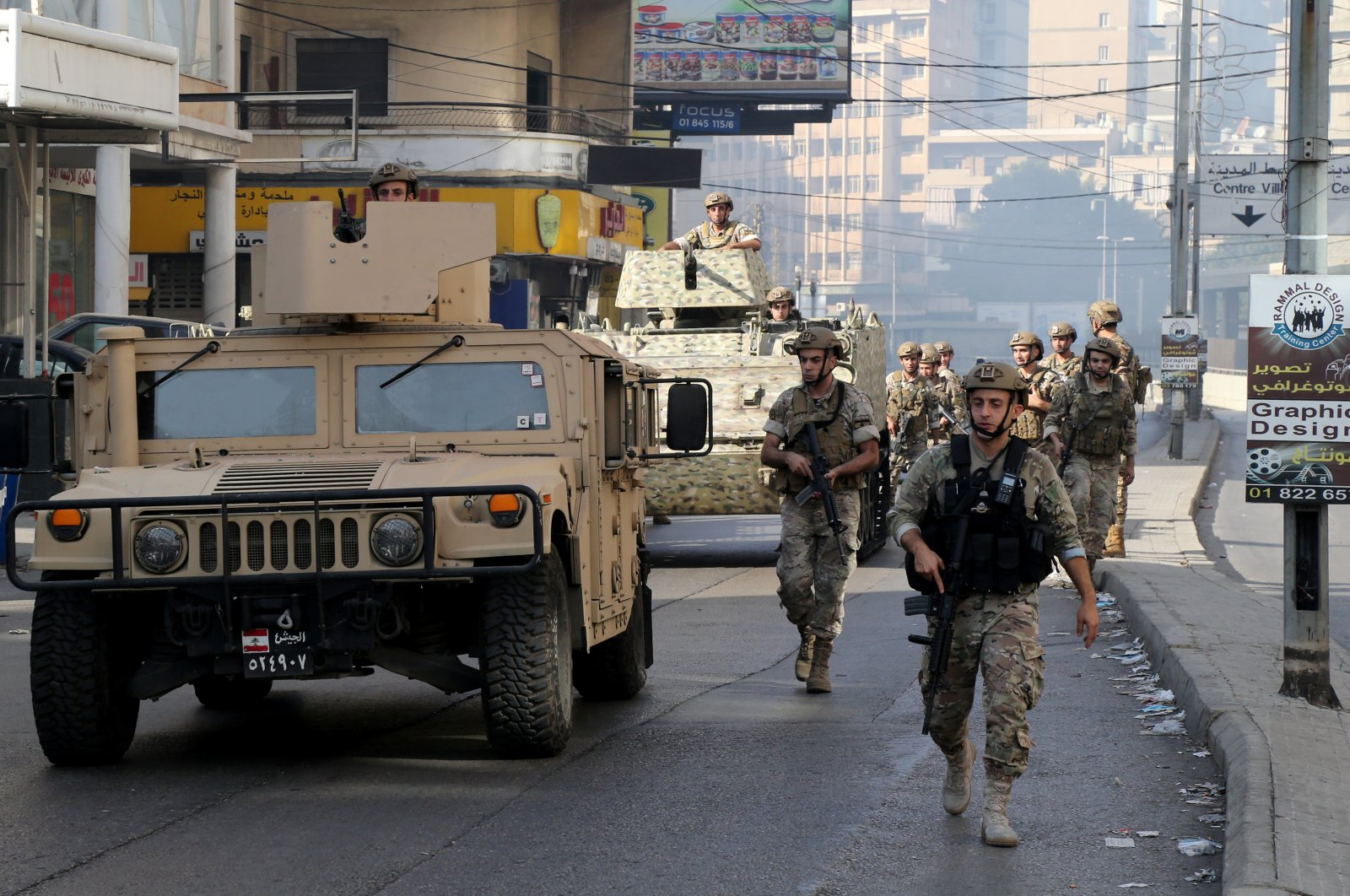 Lebanese military forces deployed in a neighborhood where clashes took place, Tayouneh, Beirut, Lebanon, Oct. 14, 2021. (EPA Photo)
